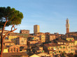 historical city of sienna during sunset