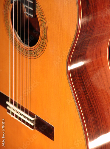 Classical guitar oblique view