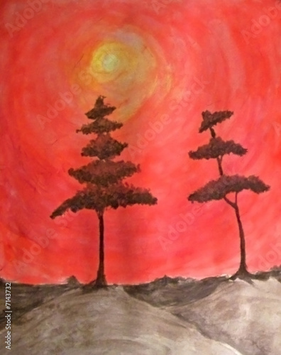 Painting of Tree with Sun in Background