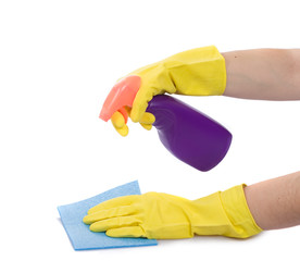 Hand with spray bottle and sponge