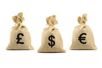 Three brown bags with currency symbols