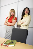Two serious businesswomen poster