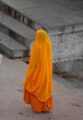Indian woman in orange sari