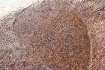 Cock - primitive art draving on stone