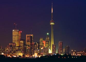 Toronto skyline - financial core at dusk