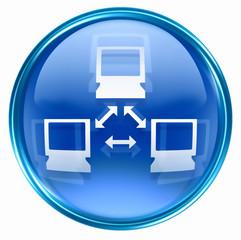 Network icon blue, isolated on white background