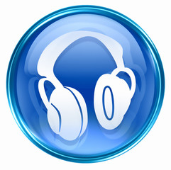 headphones icon blue, isolated on white background