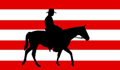 Vaquero sobre bandera americana