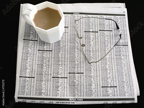 poster of newspaper - stocks, coffee and eyeglasses 3
