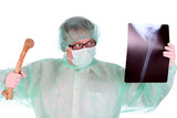 surgeon with xray and bone poster