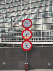 restricting traffic signs in front of office building