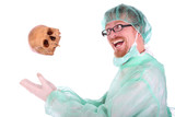 surgeon with skull poster