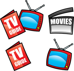 tv guide and media icons isolated on white