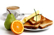 breakfast with tosts, coffee and fruits