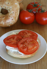 Bagel and Cream Cheese with Tomato