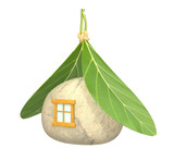 3d symbolical non-polluting house poster