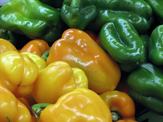 green and yellow paprika