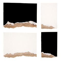 Black and White Torn Cardboard Set