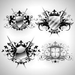 Medieval heraldic shields