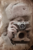 Soviet girl soldier. WWII reenacting poster