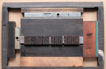 letterpress type in a printer's chase