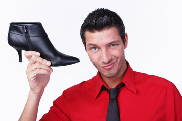 Mann Werbung Schuh - shoe advertising business man