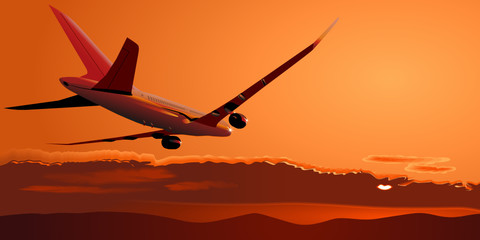 Vector Boeing-787 at sunset