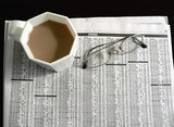newspaper - stocks, coffee and eyeglasses 2 poster