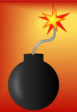 bomb with lit fuse on red gradient background poster
