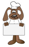 cartoon of dog chef holding blank menu sign  poster