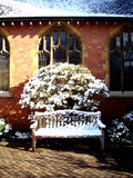 Bench Covered With Snow in Church Yard. England