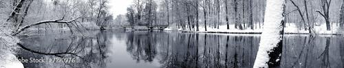 Leinwanddruck Bild Lake in winter panorama