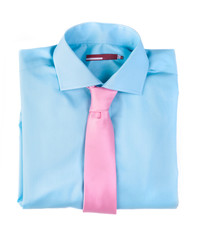 Blue shirt with a pink tie