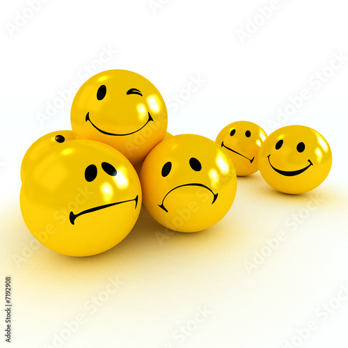 Winking smiley carried by sad and angry ones