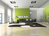 Fototapety Modern interior with sofa and white carpet 3D