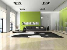 Nowoczesne wnętrza z kanapą i biały dywan 3d