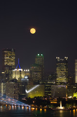 Full Moon Over City of Pittsburgh
