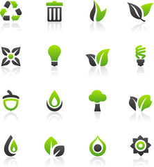 Set of 16 environmental green icons and graphics