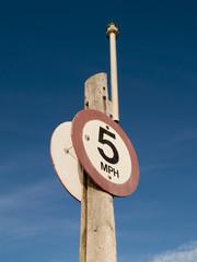 Five Miles Per Hour Marina Sign