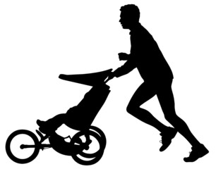 father with baby jogging silhouette
