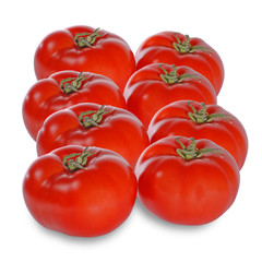 Fresh juicy tomatoes isolated on white background