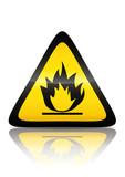 Symbole de produit inflammable (reflet métal)  poster