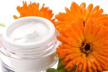 Face cream and calendula flower