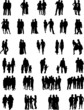 couples,groups and families silhouettes