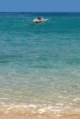 swimmer in St. Barth, Caribbean