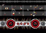 Musical inspired background black image with music notes poster