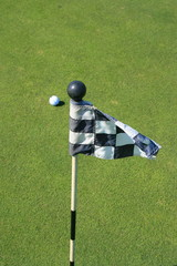 Close up of a golf course flag and a golf ball.