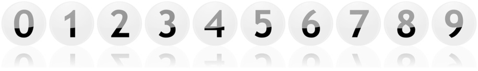 numbered white aqua buttons