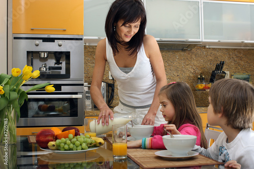 Beautiful mother serving breakfast 2
