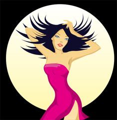 vector illustration of dancer woman